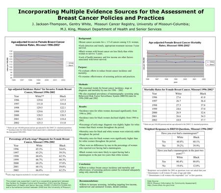 Incorporating Multiple Evidence Sources for the Assessment of Breast Cancer Policies and Practices J. Jackson-Thompson, Gentry White, Missouri Cancer Registry,