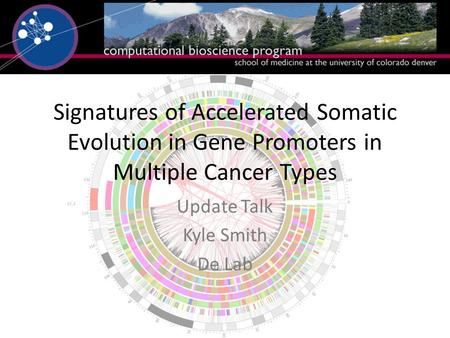 Signatures of Accelerated Somatic Evolution in Gene Promoters in Multiple Cancer Types Update Talk Kyle Smith De Lab.
