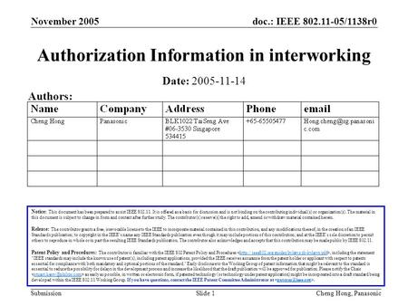 Doc.: IEEE 802.11-05/1138r0 Submission November 2005 Cheng Hong, PanasonicSlide 1 Authorization Information in interworking Notice: This document has been.