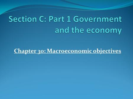 Chapter 30: Macroeconomic objectives. Review; What is Microeconomics? Brainstorm; Looks at individual parts of the economy Looks at how individuals, households.