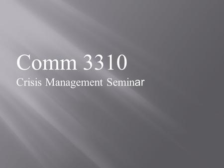 Comm 3310 Crisis Management Semin ar. Review  Lawsuit publicized story before it airs  Food Lion's demand ABC not show the hidden camera video makes.