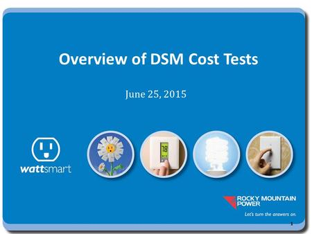 Overview of DSM Cost Tests June 25, 2015 1. Background Parties developed demand side resource performance standards for post 1994 program cost recovery.