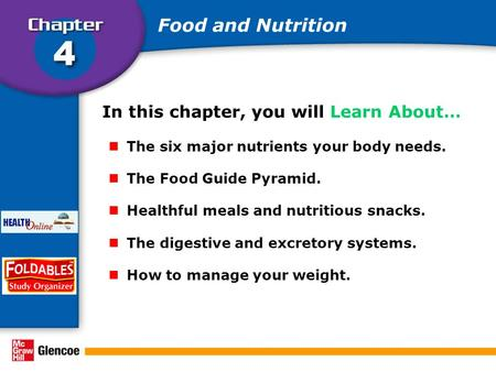In this chapter, you will Learn About… The six major nutrients your body needs. The Food Guide Pyramid. Healthful meals and nutritious snacks. The digestive.