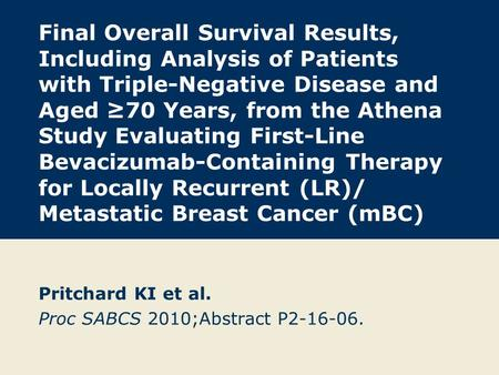 Final Overall Survival Results, Including Analysis of Patients with Triple-Negative Disease and Aged ≥70 Years, from the Athena Study Evaluating First-Line.