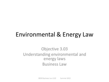 Environmental & Energy Law