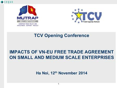 1 TCV Opening Conference IMPACTS OF VN-EU FREE TRADE AGREEMENT ON SMALL AND MEDIUM SCALE ENTERPRISES Ha Noi, 12 th November 2014.