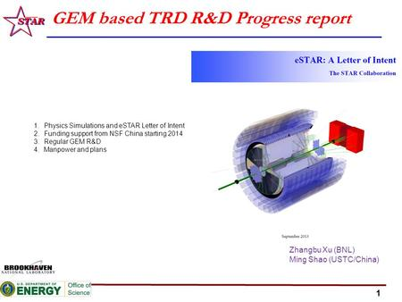 1 GEM based TRD R&D Progress report Zhangbu Xu (BNL) Ming Shao (USTC/China) 1.Physics Simulations and eSTAR Letter of Intent 2.Funding support from NSF.