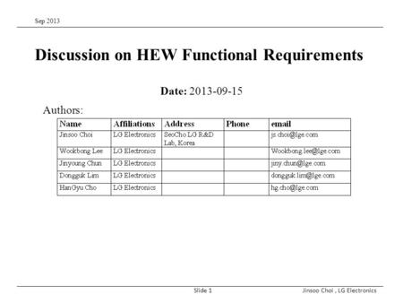 Sep 2013 Jinsoo Choi, LG ElectronicsSlide 1 Discussion on HEW Functional Requirements Date: 2013-09-15 Authors: