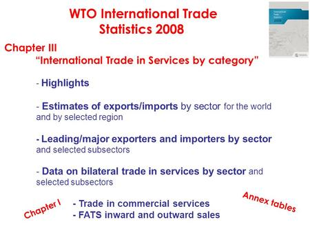 "WTO International Trade Statistics 2008 Chapter III ""International Trade in Services by category"" - Highlights - Estimates of exports/imports by sector."