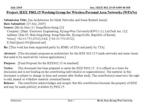 Doc.: IEEE 802.15-05-0455-00-005 Submission July 2005 Ho-In Jeon, Kyung-Won University Slide 1 Project: IEEE P802.15 Working Group for Wireless Personal.