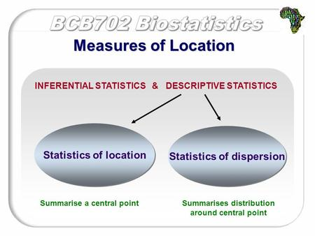 Measures of Location INFERENTIAL STATISTICS & DESCRIPTIVE STATISTICS Statistics of location Statistics of dispersion Summarise a central pointSummarises.
