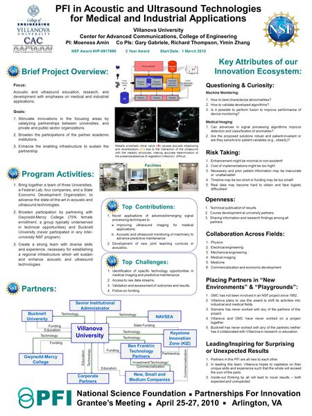 Brief Project Overview: Focus: Acoustic and ultrasound education, research, and development with emphases on medical and industrial applications. Goals: