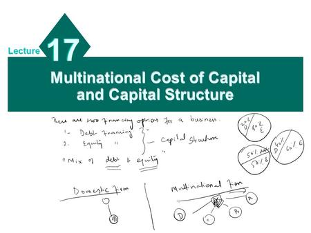 Multinational Cost of Capital and Capital Structure 17 Lecture.