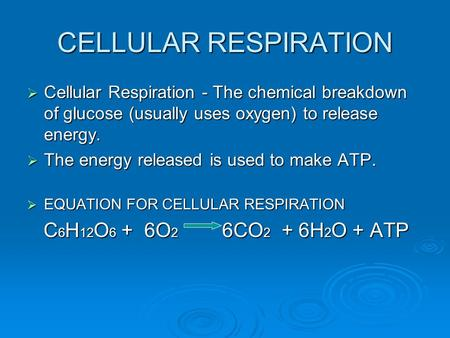 CELLULAR RESPIRATION  Cellular Respiration - The chemical breakdown of glucose (usually uses oxygen) to release energy.  The energy released is used.