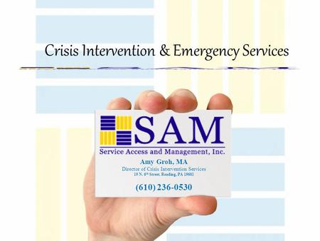 Amy Groh, MA Director of Crisis Intervention Services 19 N. 6 th Street. Reading, PA 19601 (610) 236-0530 Crisis Intervention & Emergency Services.