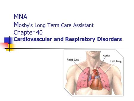 MNA M osby ' s Long Term Care Assistant Chapter 40 Cardiovascular and Respiratory Disorders.