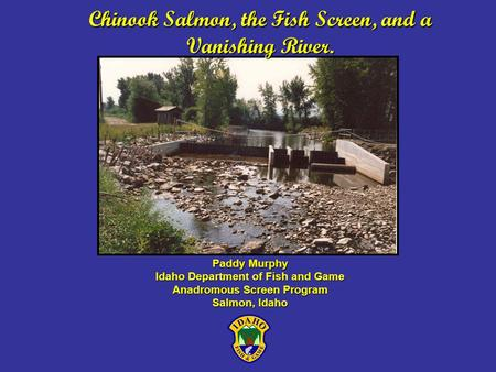 Chinook Salmon, the Fish Screen, and a Vanishing River. Paddy Murphy Idaho Department of Fish and Game Anadromous Screen Program Salmon, Idaho.