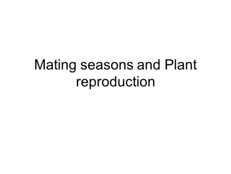 Mating seasons and Plant reproduction. When does mating occur? Usually mating occurs just prior to fertilisation – sperm does not survive for long Females.