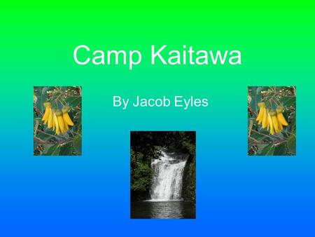 Camp Kaitawa By Jacob Eyles. Introduction The rain was horrendous! The cars were getting pelted with jets of showering water. All of us, tension rising,