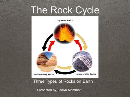 The Rock Cycle Three Types of Rocks on Earth Presented by, Jaclyn Memmott.