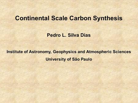Continental Scale Carbon Synthesis Pedro L. Silva Dias Institute of Astronomy, Geophysics and Atmospheric Sciences University of São Paulo.