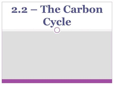 2.2 – The Carbon Cycle. Where is Carbon Stored? Short Term Stores: Land and marine animals and plants and in decaying organic matter. Land and marine.