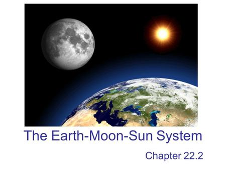 The Earth-Moon-Sun System Chapter 22.2. Motions of Earth The main two motions of Earth are rotation and revolution –Rotation – the spinning of a body.