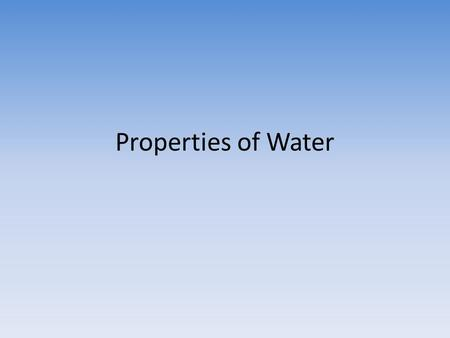 Properties of Water. High Specific Heat Water has a high specific heat index—it absorbs a lot of heat before it begins to get hot.specific heat index.