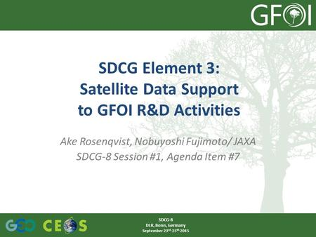 Ake Rosenqvist, Nobuyoshi Fujimoto/ JAXA SDCG-8 Session #1, Agenda Item #7 SDCG Element 3: Satellite Data Support to GFOI R&D Activities SDCG-8 DLR, Bonn,