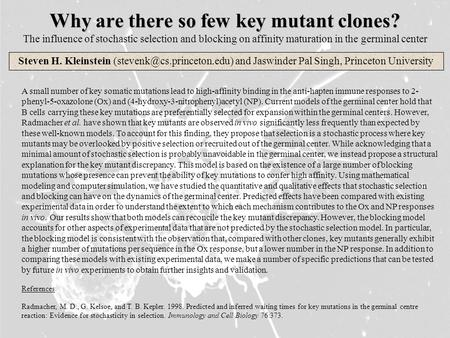 Why are there so few key mutant clones? Why are there so few key mutant clones? The influence of stochastic selection and blocking on affinity maturation.