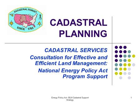 Energy Policy Act - BLM Cadastral Support Strategy 1 CADASTRAL PLANNING CADASTRAL SERVICES Consultation for Effective and Efficient Land Management: National.