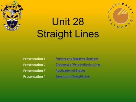 Unit 28 Straight Lines Presentation 1 Positive and Negative Gradient Presentation 2 Gradients of Perpendicular Lines Presentation 3 Application of Graphs.