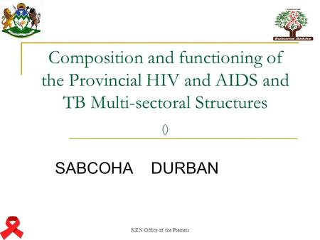 KZN Office of the Premeir Composition and functioning of the Provincial HIV and AIDS and TB Multi-sectoral Structures () SABCOHA DURBAN.