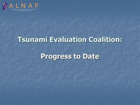 Tsunami Evaluation Coalition: Progress to Date. Background OCHA, WHO, ALNAP Secretariat + DANIDA, USAID Level 1 Purpose: To promote a sector wide approach.