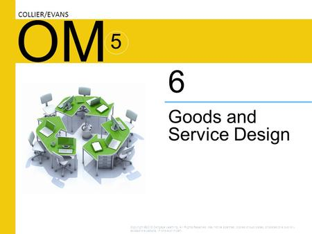 OM Goods and Service Design 6 COLLIER/EVANS 5 Copyright ©2016 Cengage Learning. All Rights Reserved. May not be scanned, copied or duplicated, or posted.