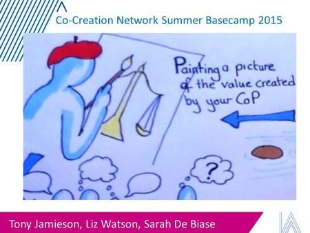Tony Jamieson, Liz Watson, Sarah De Biase Co-Creation Network Summer Basecamp 2015.