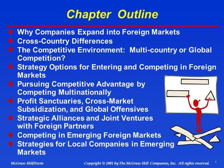 1 © 2001 by The McGraw-Hill Companies, Inc. All rights reserved. McGraw-Hill/Irwin Copyright Chapter Outline  Why Companies Expand into Foreign Markets.