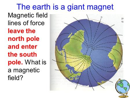 The earth is a giant magnet Magnetic field lines of force leave the north pole and enter the south pole. What is a magnetic field?