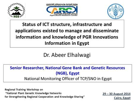 Status of ICT structure, infrastructure and applications existed to manage and disseminate information and knowledge of PGR Innovations Information in.