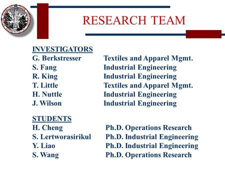 RESEARCH TEAM INVESTIGATORS G. Berkstresser S. Fang R. King T. Little H. Nuttle J. Wilson Textiles and Apparel Mgmt. Industrial Engineering Textiles and.