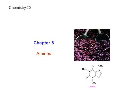 Chapter 8 Amines Chemistry 20. Amines: Are derivatives of ammonia NH 3. Contain N attached to one or more alkyl (Aliphatic amine) or aromatic groups (Aromatic.