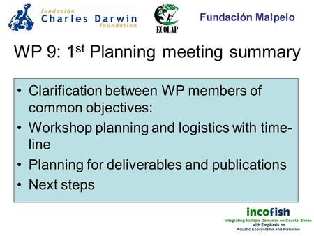 WP 9: 1 st Planning meeting summary Clarification between WP members of common objectives: Workshop planning and logistics with time- line Planning for.
