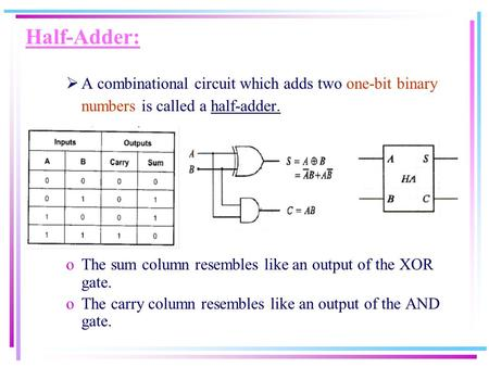 Half-Adder:  A combinational circuit which adds two one-bit binary numbers is called a half-adder. oThe sum column resembles like an output of the XOR.