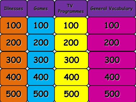 Menu 100 200 300 400 500 IllnessesGamesTVProgrammes General Vocabulary.
