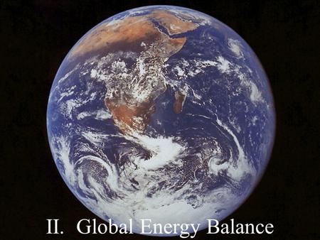 II. Global Energy Balance. A. Electromagnetic Radiation: self-propagating electric and magnetic waves. Or …. Radiation transmitted through the vacuum.