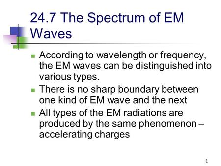 1 24.7 The Spectrum of EM Waves According to wavelength or frequency, the EM waves can be distinguished into various types. There is no sharp boundary.