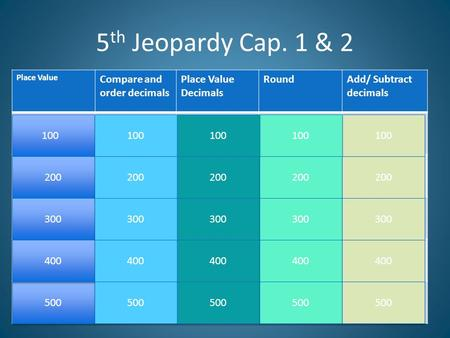5th Jeopardy Cap. 1 & 2 Compare and order decimals