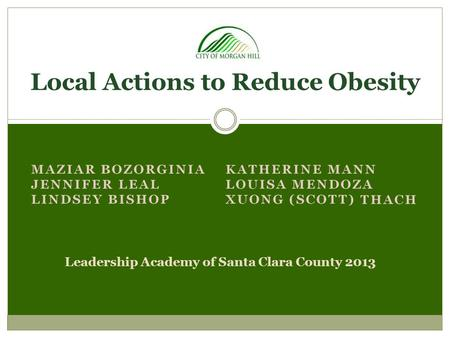 Local Actions to Reduce Obesity Leadership Academy of Santa Clara County 2013.