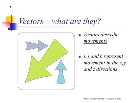 Maths revision course by Miriam Hanks 1 Vectors – what are they? Vectors describe movements i, j and k represent movement in the x,y and z directions.
