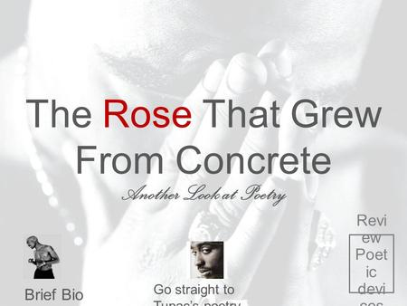The Rose That Grew From Concrete Another Look at Poetry Brief Bio Go straight to Tupac's poetry Revi ew Poet ic devi ces.
